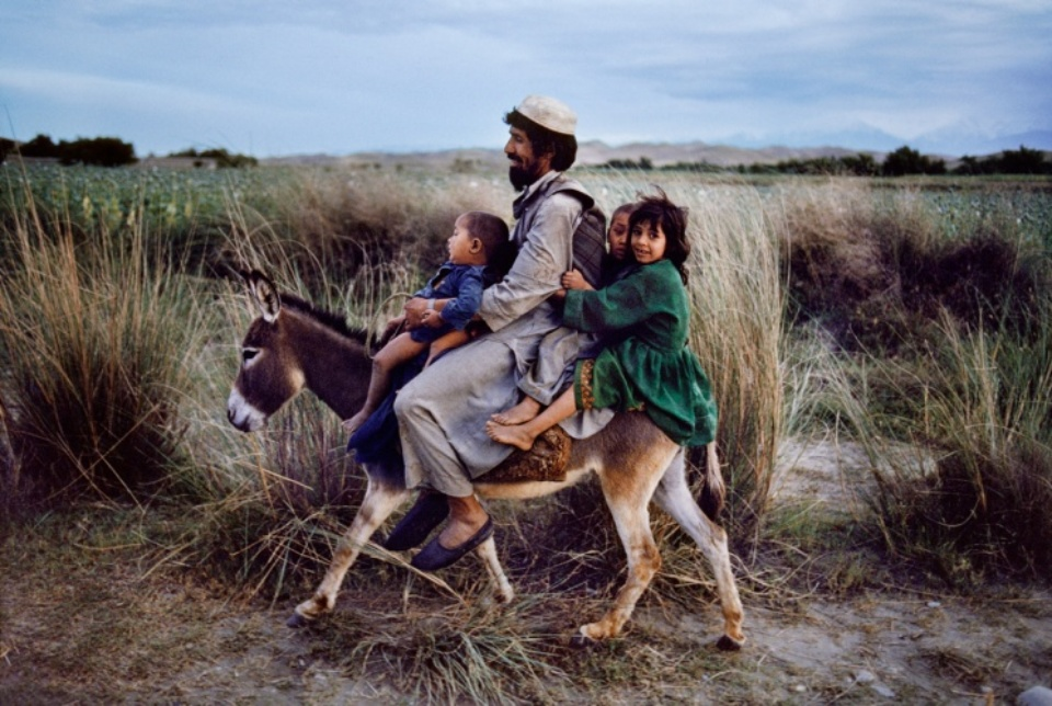 Steve McCurry: A Familiy rides on a Donkey Maimana, Afghanistan, 2003 C-print on Fuji Crystal paper Signed, titled, dated and numbered 50 x 60 cm Editioned