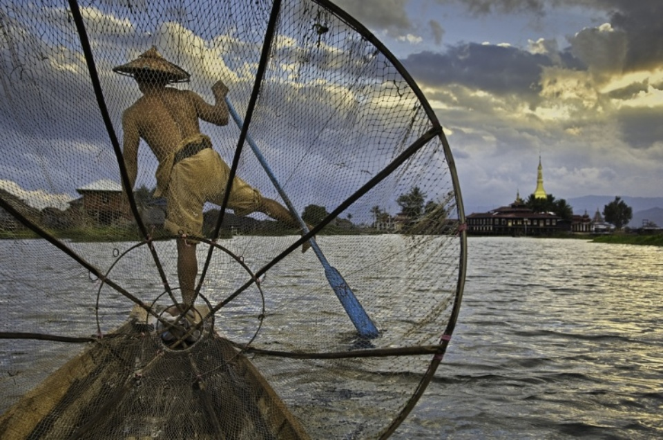 Steve McCurry: Fisherman on Inle Lake Burma, 2008 C-print Signed, titled, dated and numbered on verso 76 x 101 cm Editioned