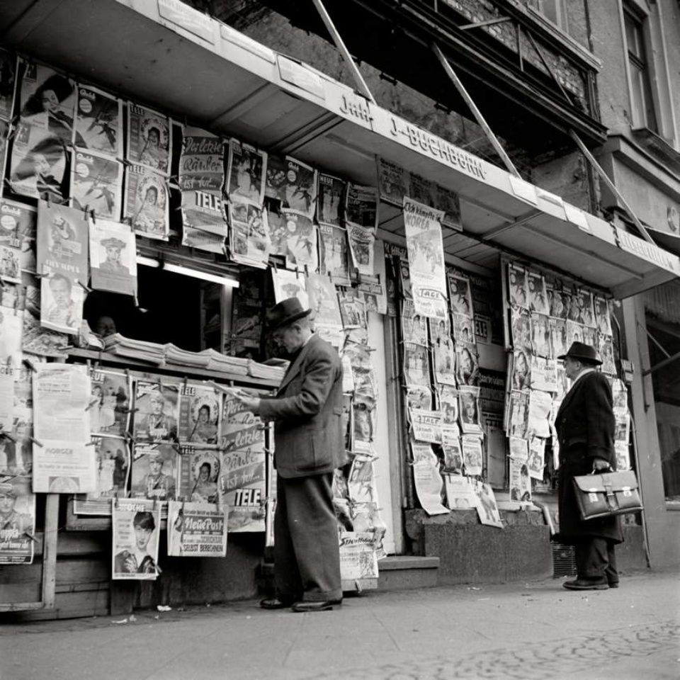 Max Scheler. Newspaper Stand in a Ruin , Location Unknown , 1952