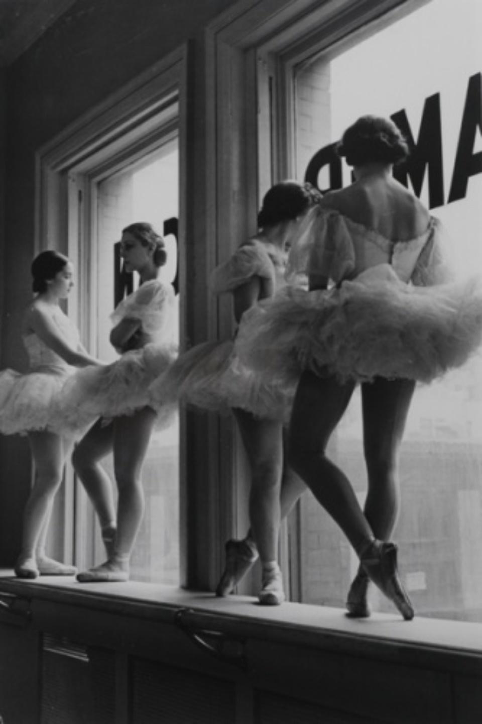 Alfred Eisenstaedt: Four Ballerinas against Window at American Ballet School, New York, 1936 Vintage gelatin silver print, Signed and stamped on verso c 20 x 31 cm