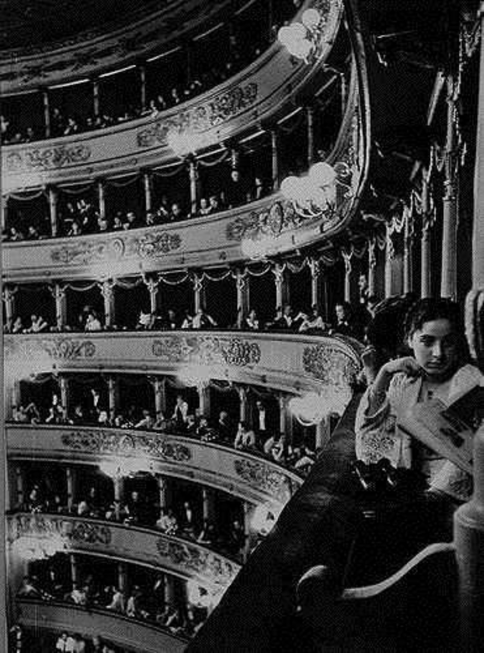 Alfred Eisenstaedt Audience at la Scala Opera House Italy, 1934 Gelatin Silver Print Vintage, tiled and dated in ink Ed. 1/25
