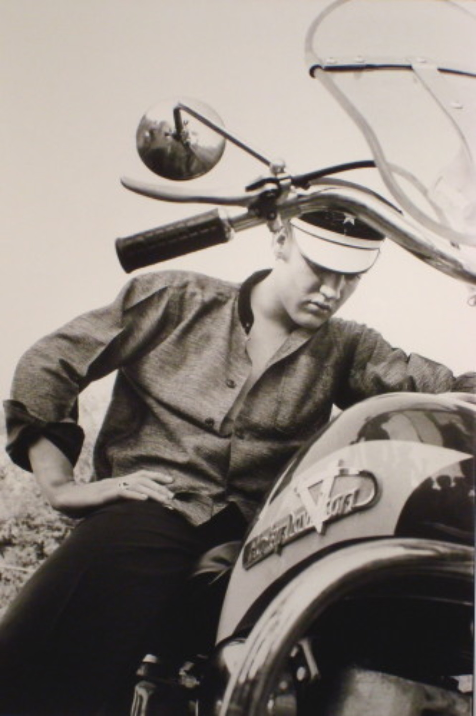Alfred Wertheimer Elvis on his Harley Tennessee, 1956 Gelatin Silver Print, printed later Signed, titled and dated