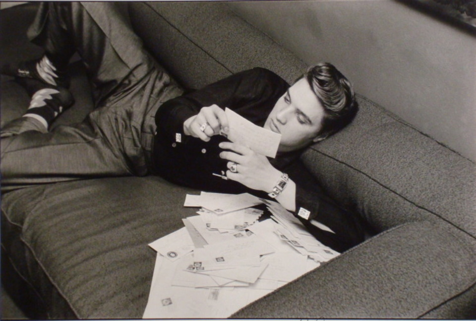 Alfred Wertheimer Elvis reading fan mail New York City, 1956 Gelatin Silver Print, printed later Signed, titled and dated