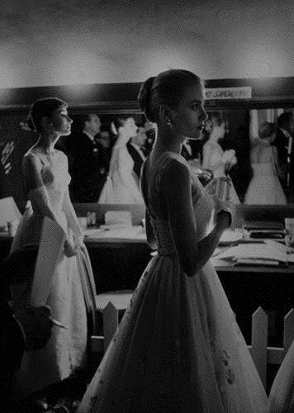 Allan Grant Audrey Hepburn & Grace Kelly Backstage at the Oscars Los Angeles Gelatin Silver Print