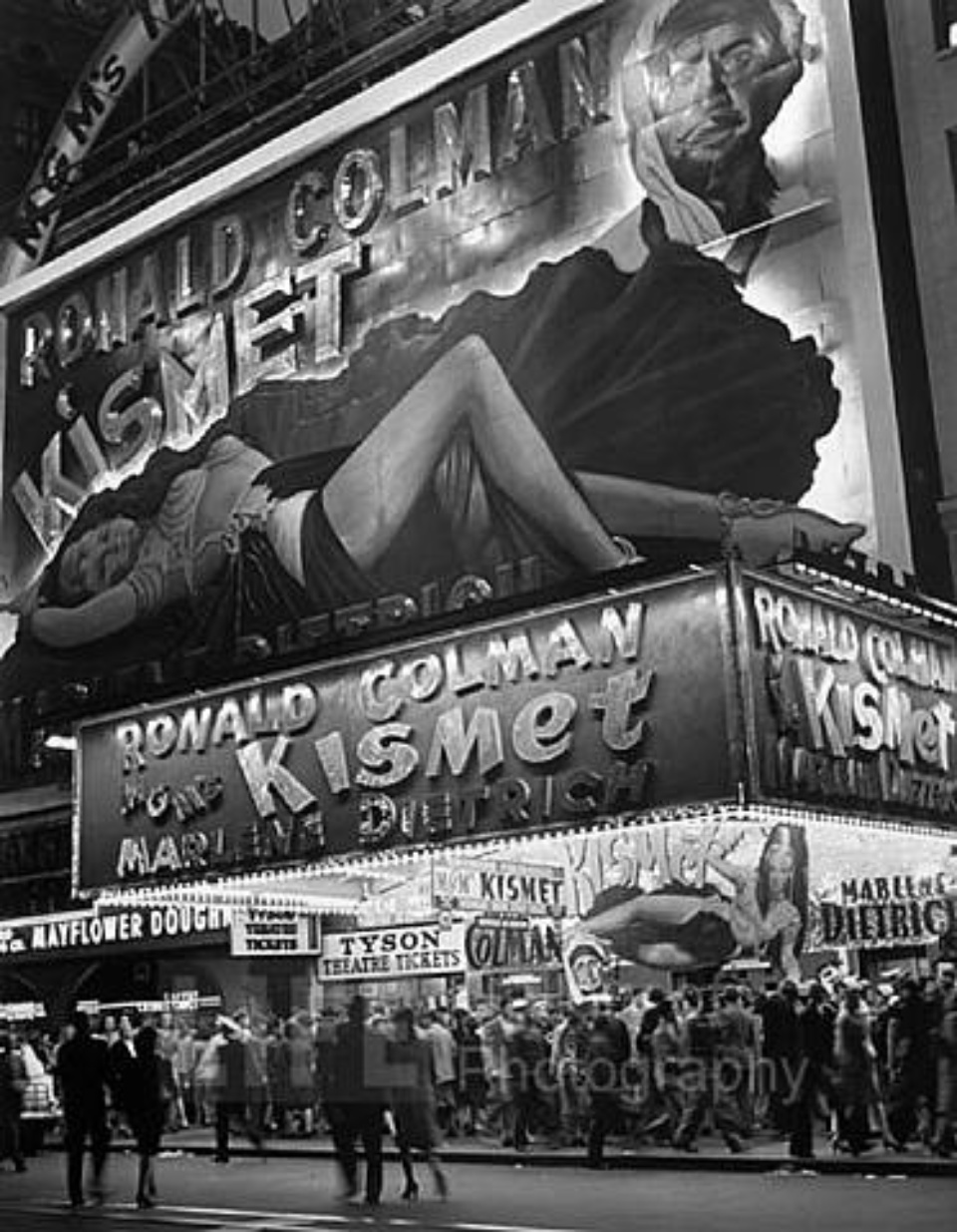 Andreas Feininger Billboard of Marlene Dietrich Times Square, NY, 1944 Gelatin Silver Print, printed later Signed on recto 50 x 40 cm