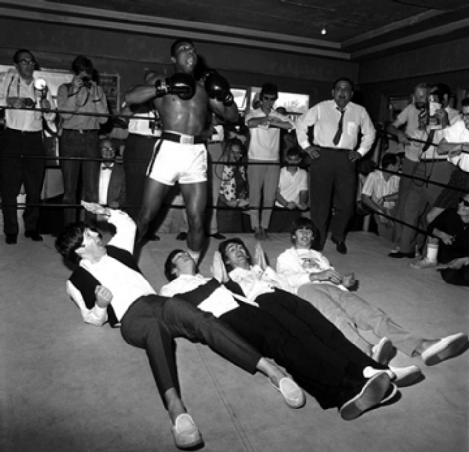 Harry Benson The Beatles with Cassius Clay, 12th Street Gym Miami, 1964 Gelatin silver print, printed later Signed, titled and dated 40 x 50 cm
