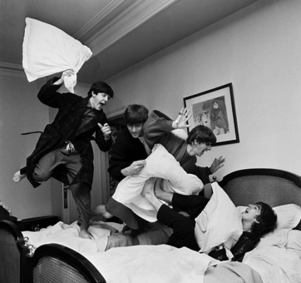Harry Benson The Beatles, Pillow Flight Hotel George V, Paris, 1964 Gelatin silver print, printed later Signed, titled and dated 40 x 50 cm