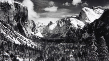 Ansel Adams Yosemite Valley in Winter n.d. Gelatin silver print, printed later Embossed on recto