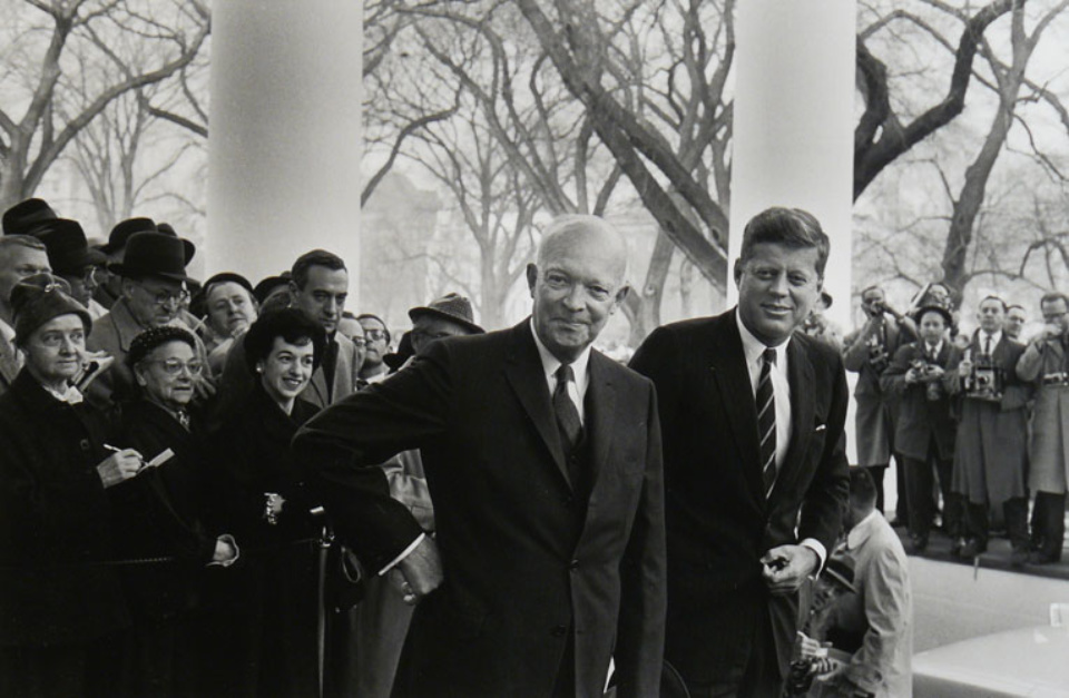 Elliott Erwitt Dwight D. Eisenhower & John F. Kennedy Washington D.C., 1960 Gelatin Silver Print Signed, titled, dated Available in different formats