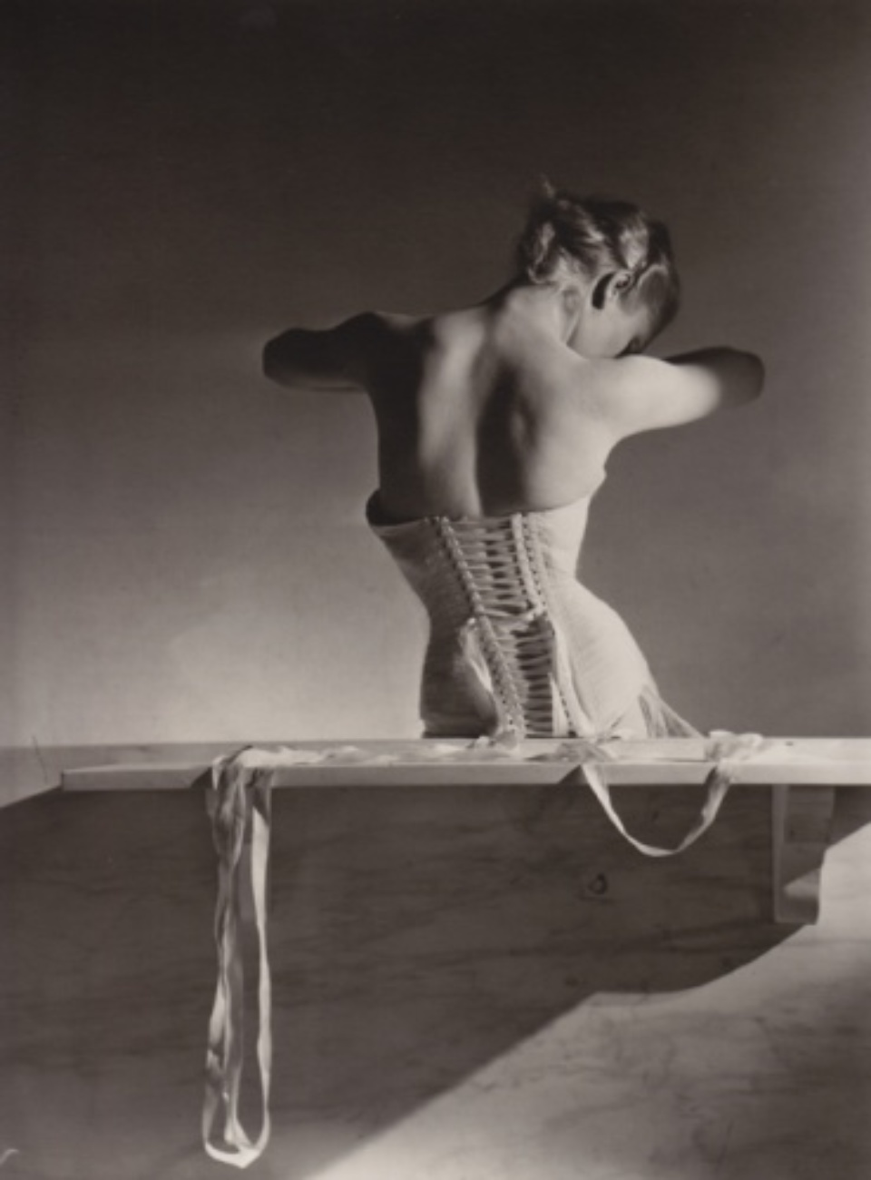 Horst P. Horst Mainbocher Corset Paris, 1939 Gelatin silver print, printed later Embossed on recto Signed, titled and dated; Artist stamp on verso 27 x 35,5 cm