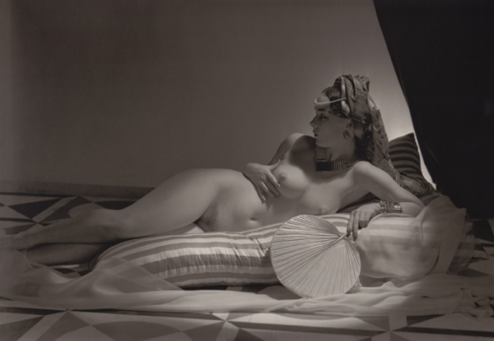 Horst P. Horst Dovima wearing long gown 1951 Vintage gelatin silver print Signed and annotated on verso