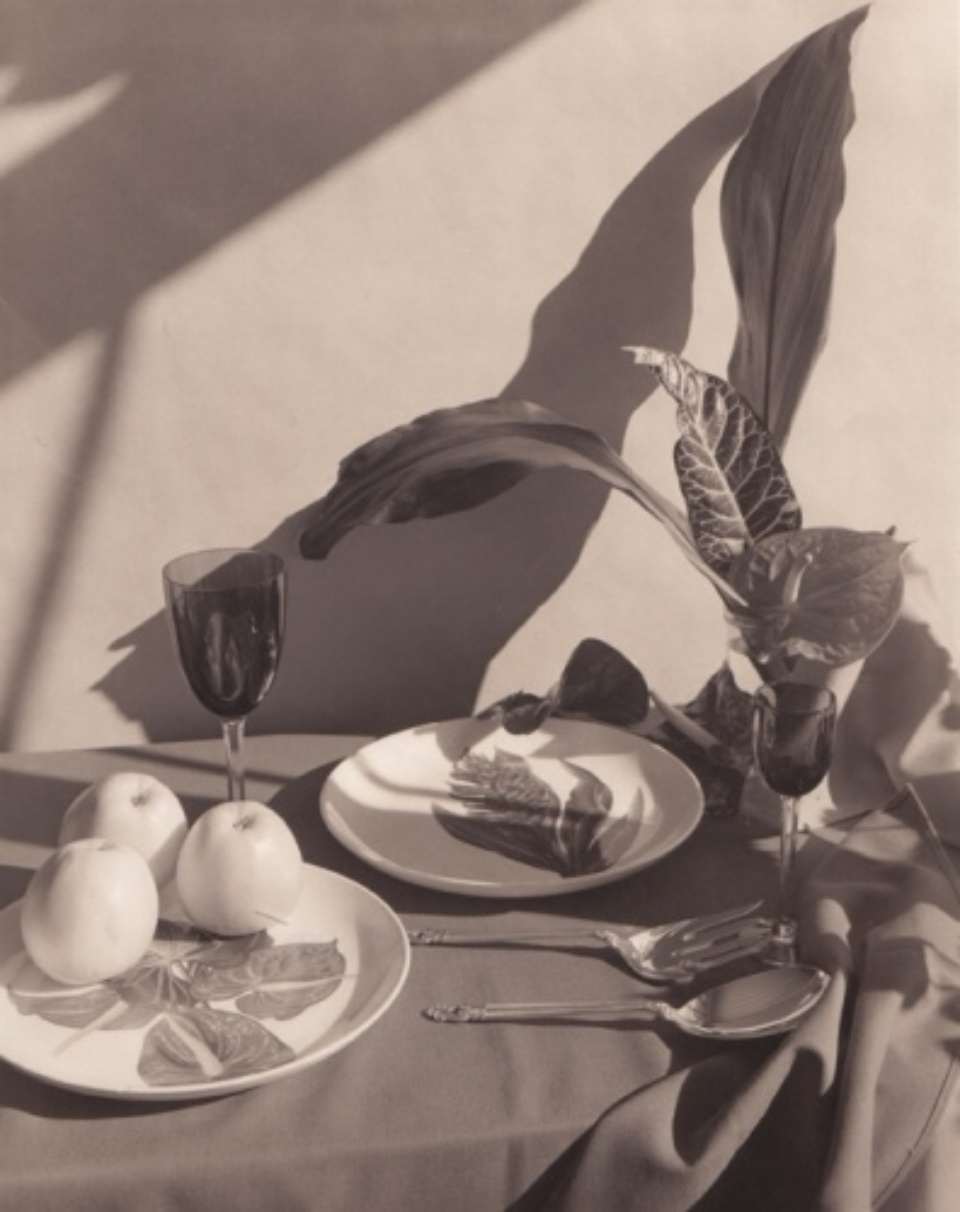 Horst P. Horst Table setting with apples Platinum print Artist stamp Signed on verso Signd on recto 27,5 x 35,5 cm