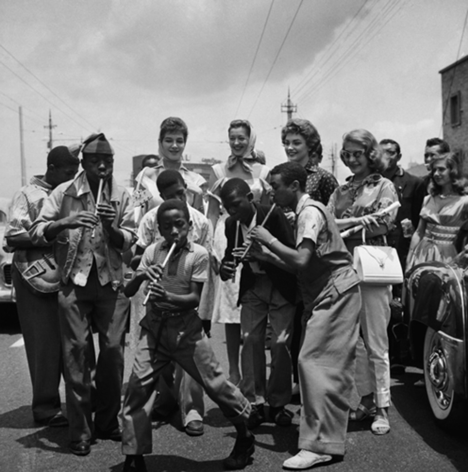 Jürgen Schadeberg Lemmy 'Special' Lyabaso and his pennywhistlers Johannesburg, 1953 Signed and titled Gelatin silver print