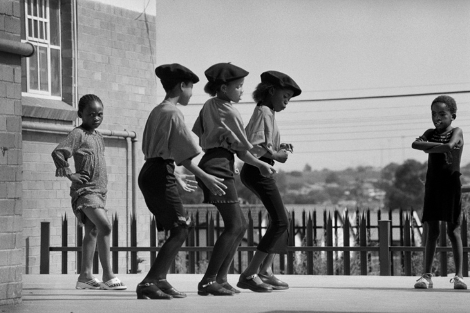 Jürgen Schadeberg Three Kliptown dancers, rehearsing Soweto, 2003 Signed and titled Gelatin silver print