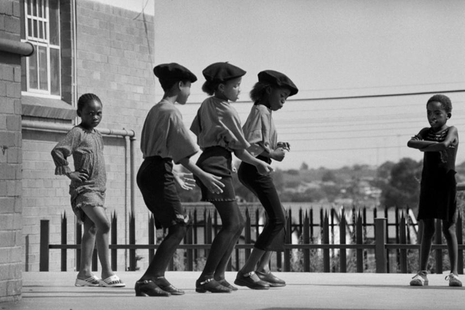 Jürgen Schadeberg Three Kliptown dancers, rehearsing Soweto, 2003 Signed and titled Gelatin silver print