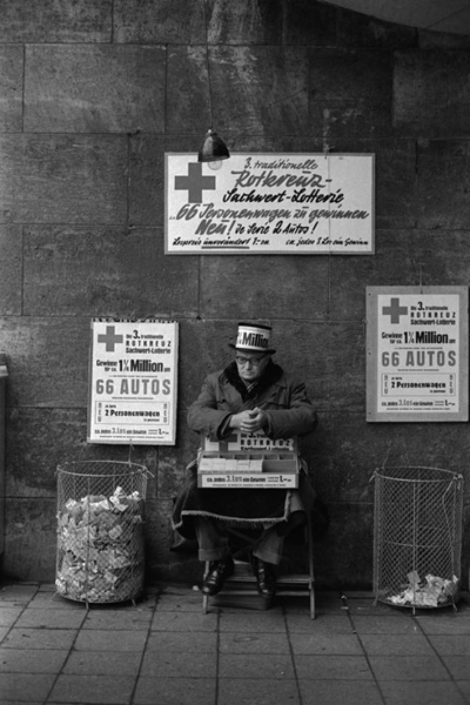 Jürgen Schadeberg Red Cross lottery man Berlin, 1961 Signed and titled Gelatin silver prin