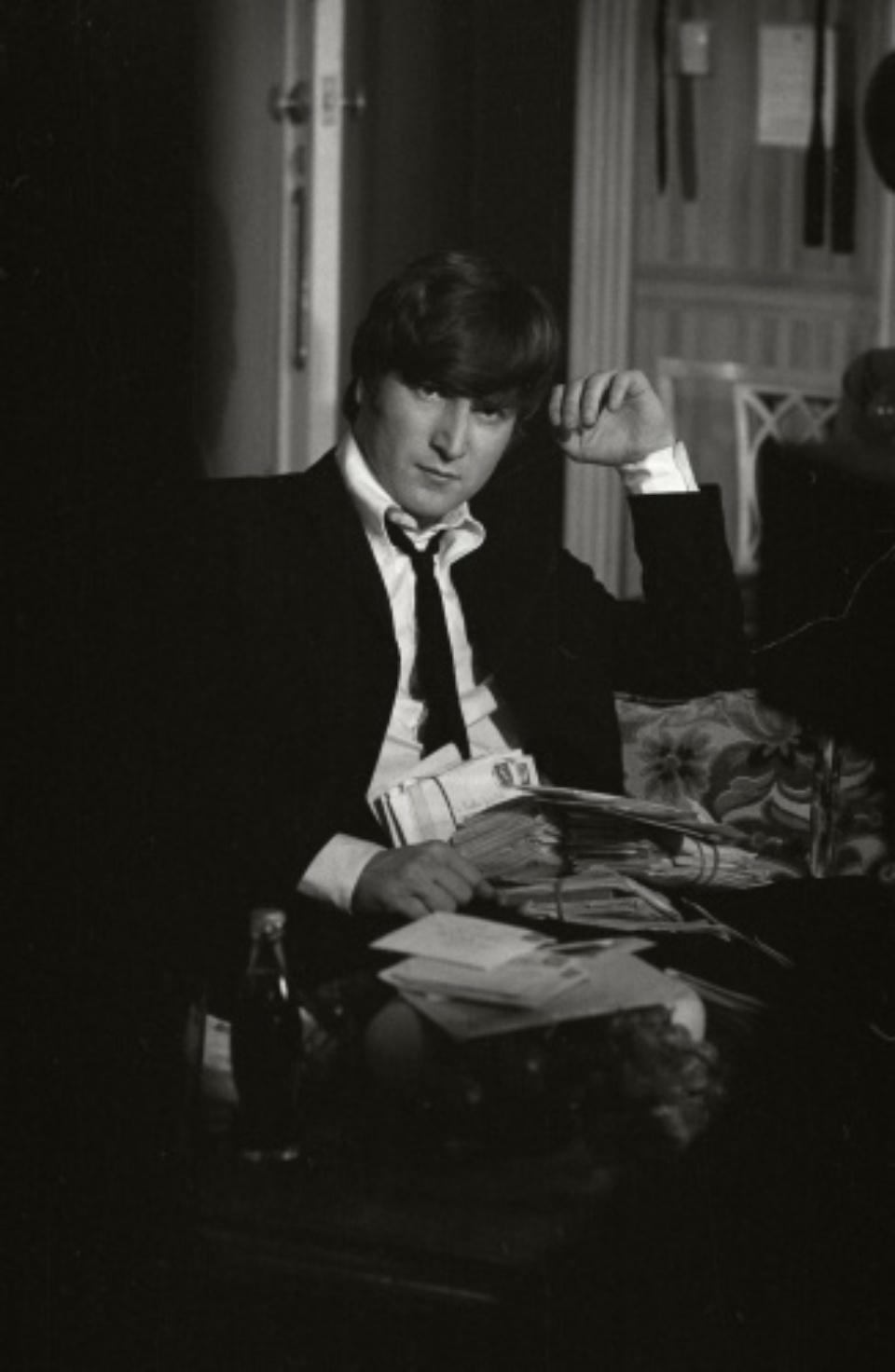 "Max Scheler ""John Lennon mit Fanpost"" London, 1964 Silver Gelatin Print"