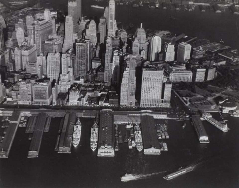 Margaret Bourke-White: Aerial Overview of lower Westside of Manhattan 1939 Vintage gelatin silver print c 33 x 26 cm
