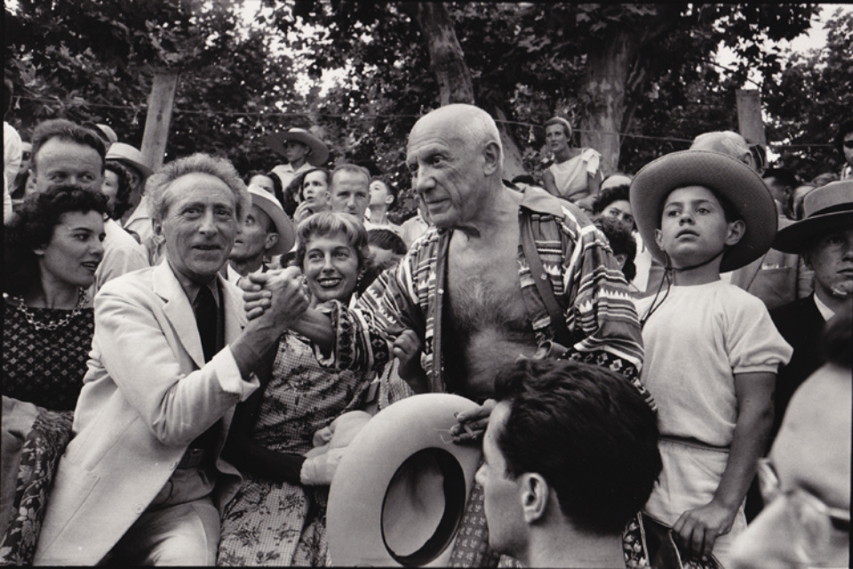 René Burri: Jean Cocteau & Pablo Picasso at a Bullfight Vallauris, 1957 Gelatin silver print, printed later Signed, titled and dated on verso 30 x 40 cm