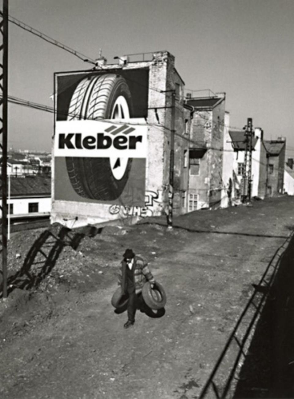 Man with Tyres Prague, 2002