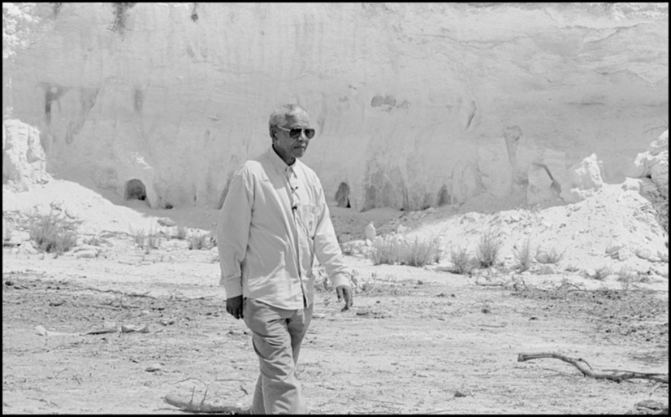 Jürgen Schadeberg Nelson Mandela in Lime Quarry Robben Island, 1994 Signed, titled and dated Gelatin silver print, printed later