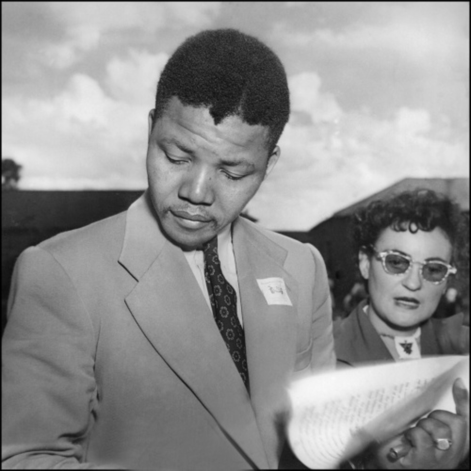 Jürgen Schadeberg Neson Mandela and Ruth First Bloemfontein, 1951 Signed, titled and dated Gelatin silver print, printed later
