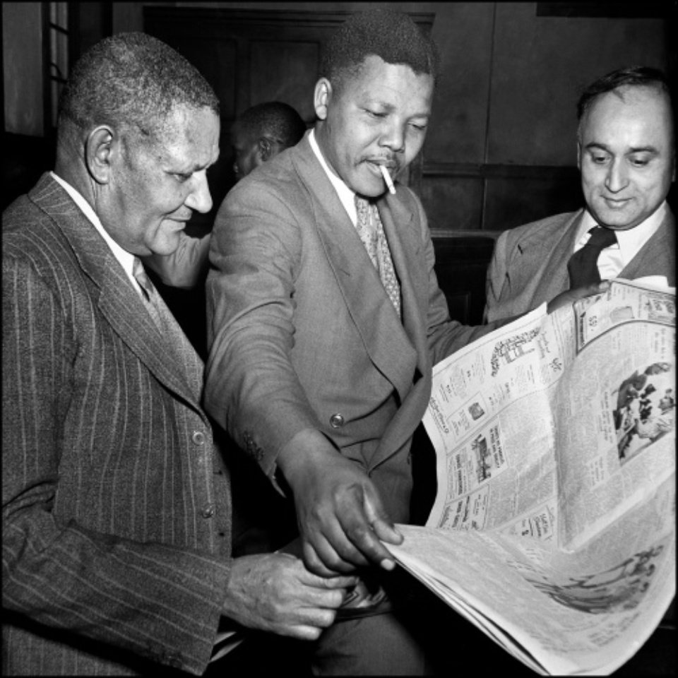 Jürgen Schadeberg Dr. Moroka, Nelson Mandela and Yusuf Dadoo during the Defiance Campaign Trial Johannesburg, 1952 Signed, titled and dated Gelatin silver print, printed later