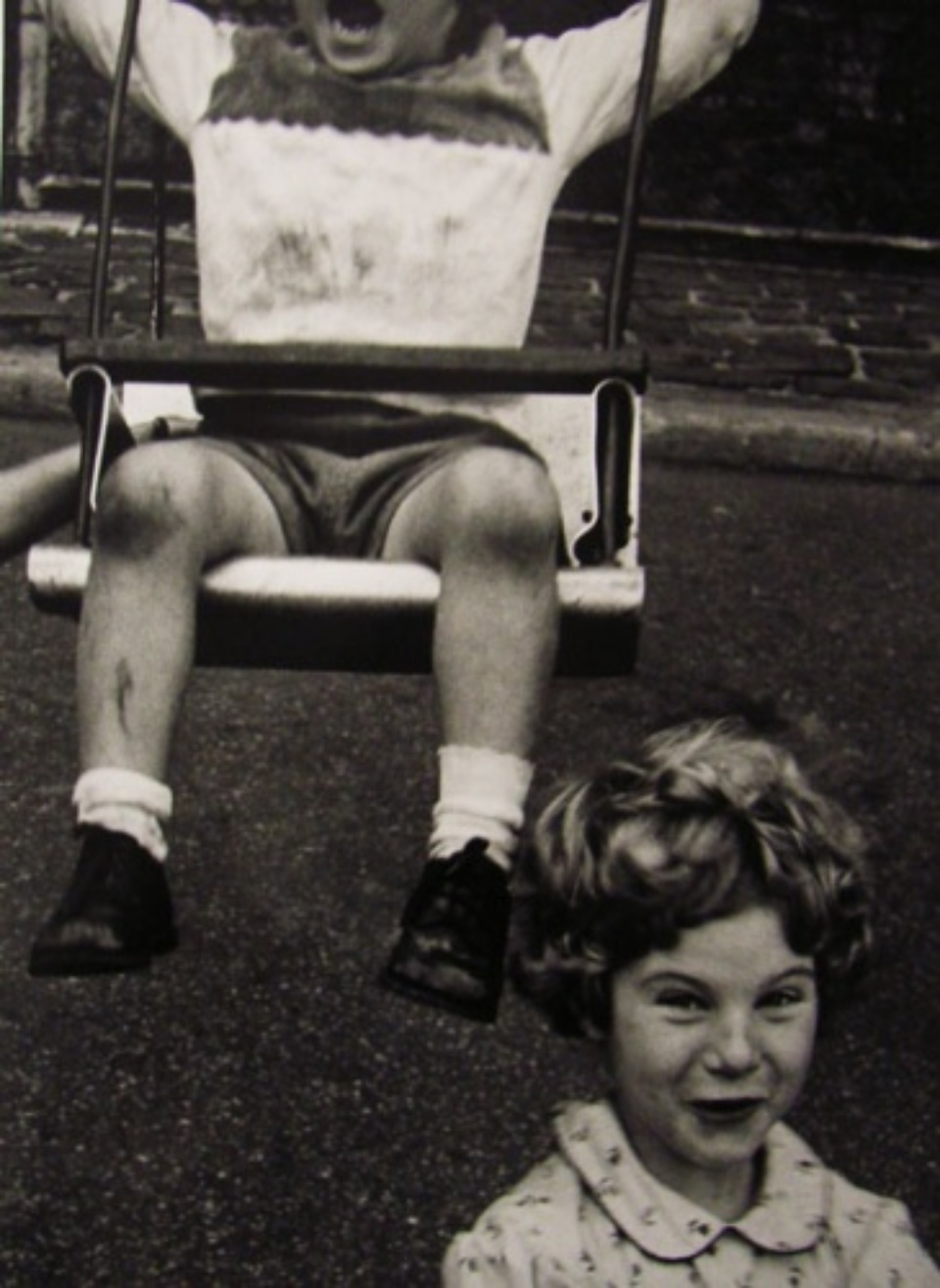 William Klein Boy and Swing and Simpering Girl Gelatin Silver Print