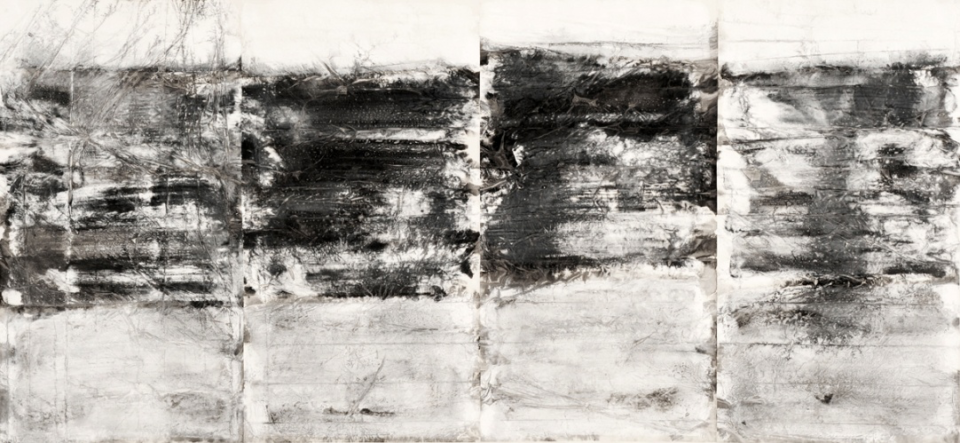 Zheng Chongbin: Untitled S - 01 2011 Ink, acrylics and wash on xuan paper L 393 cm x H 189 cm