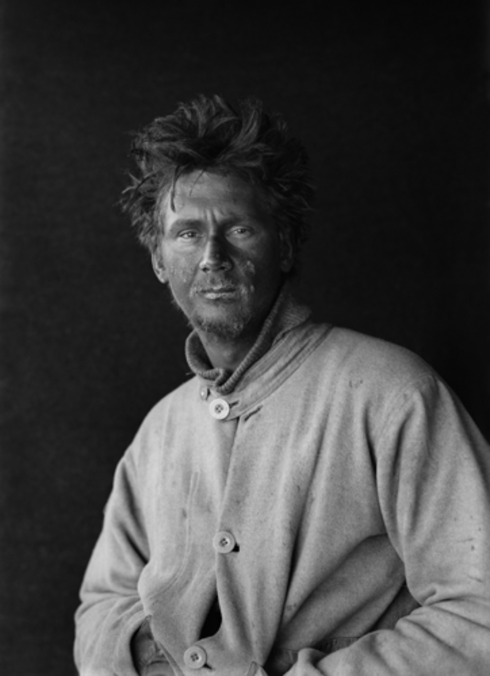 Herbert G. Ponting: C.S. Wright on return from the Barrier 29.01.1912 Embossed on recto, numbered on verso Modern Platinum palladium print Ed. of 30