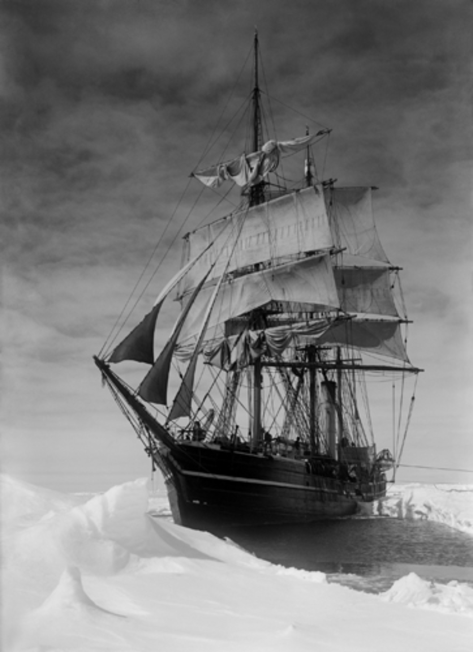 Herbert G. Ponting: The Terra Nova held up in the Pack 13.12.1910 Embossed on recto, numbered on verso Modern Platinum palladium print Two different sizes available Ed. of 30
