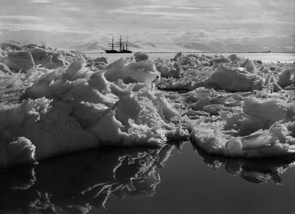 Herbert G. Ponting: Beautiful broken Ice Reflections and Terra Nova 07.01.1911 Embossed on recto, numbered on verso Modern Platinum palladium print Two different sizes available Ed. of 20