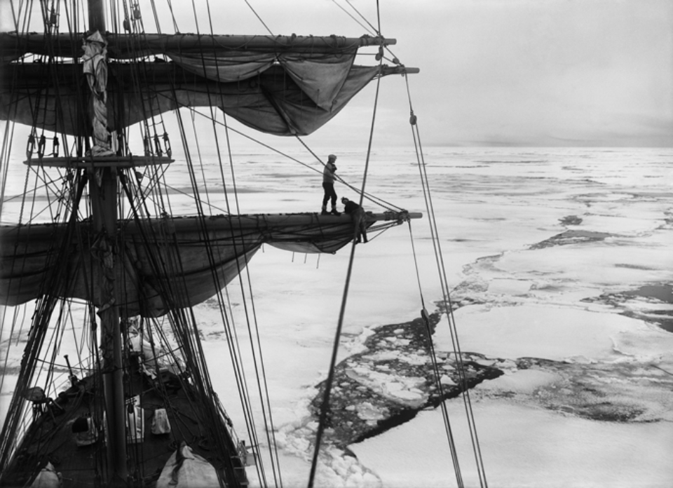 Herbert G. Ponting: In the Ice Pack from the Maintop of the Terra Nova (Gran, Taylor and Wright) Embossed on recto, numbered on verso Modern Platinum palladium print Two different sizes available Ed. of 20