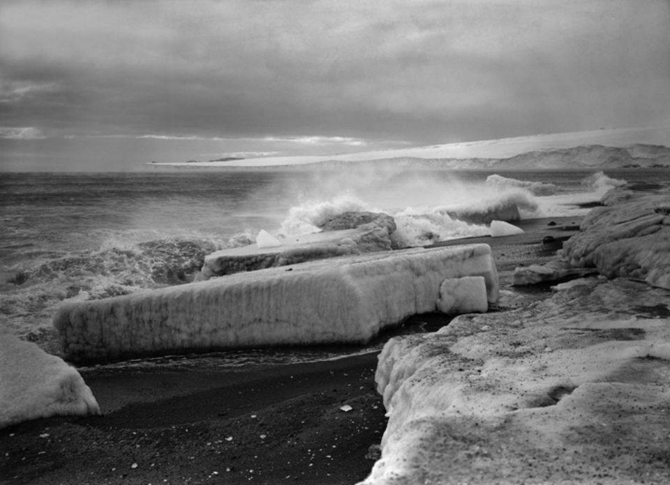 Herbert G. Ponting: Wave breaking at West Beach 28.02.1911 Embossed on recto, numbered on verso Modern Platinum palladium print Two different sizes available Ed. of 30