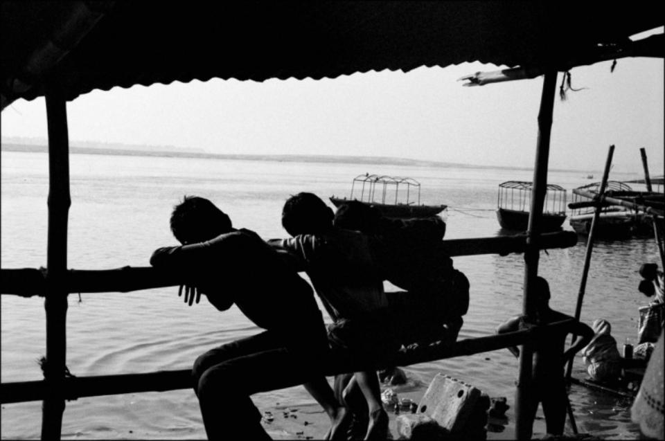 Amy Lyne: Boys looking at Ganges Varanasi, India 2003 Gelatin silver print