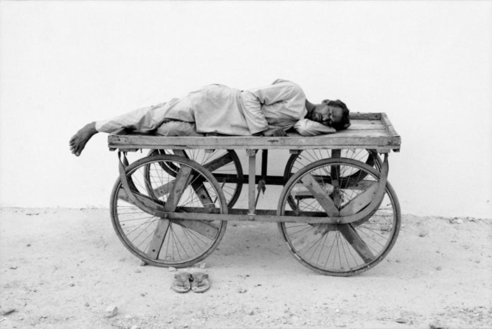 Amy Lyne: Man asleep on Cart Gelatin silver print