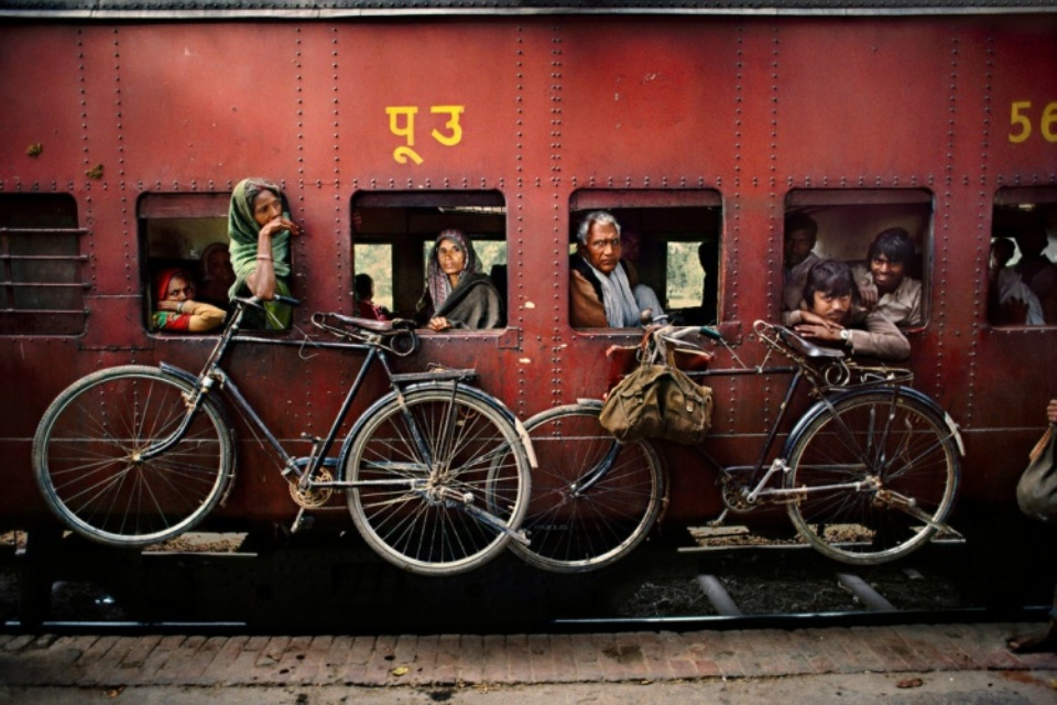 Bicycles on Side of train India