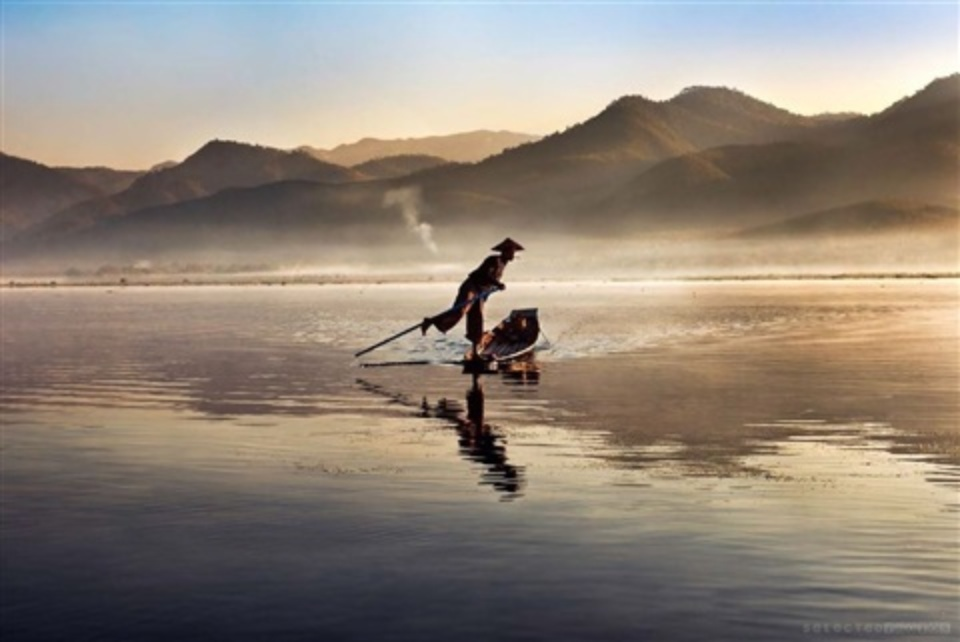 Intha Fisherman on Inle Lake Burma, 2011
