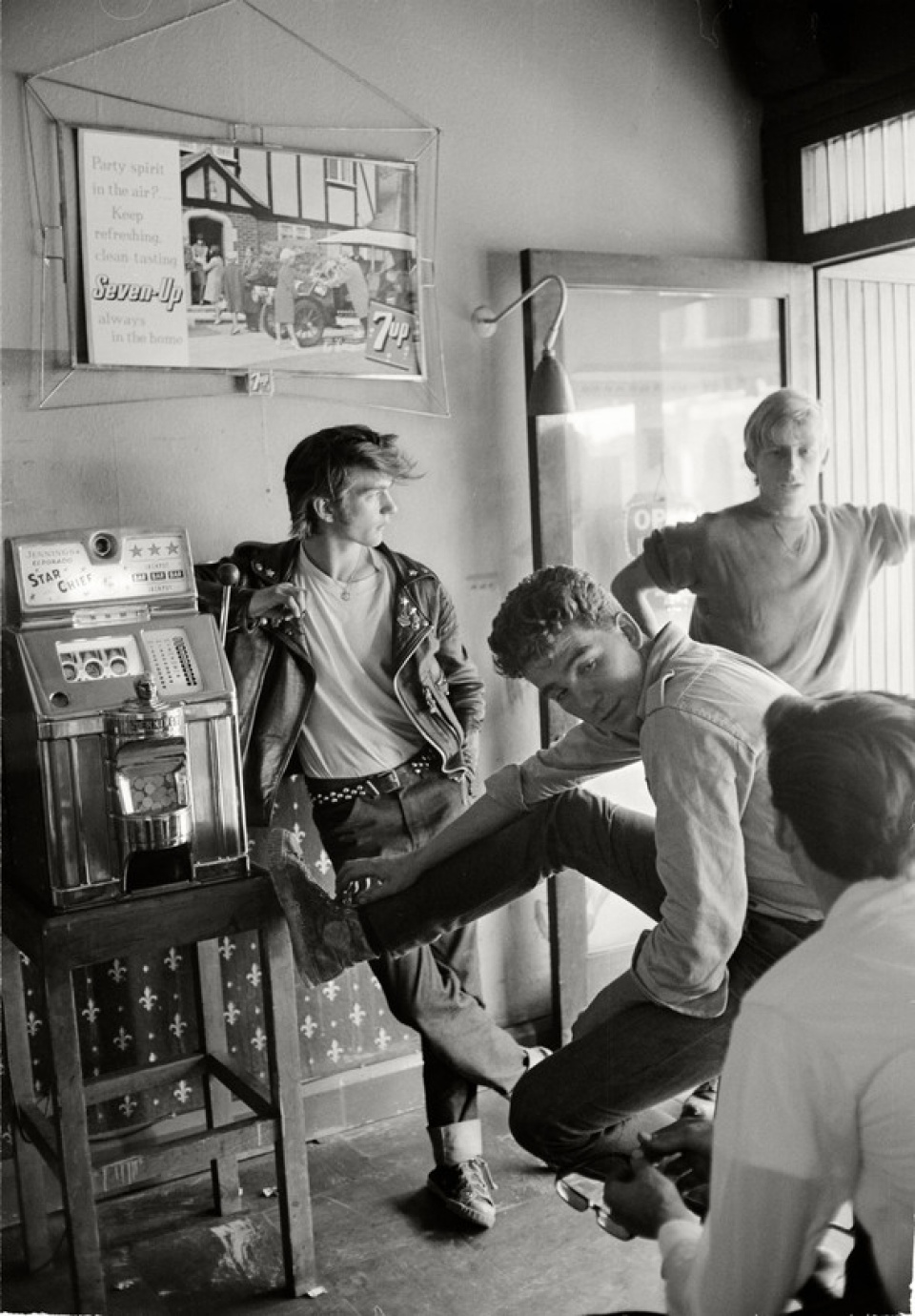 Max Scheler. 'Members of a Motorcycle Club hanging out at a pub in the London Suburbs, London, 1964
