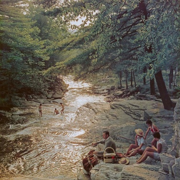 Slim Aarons. Campbell Falls picnic, Massachusetts, USA, 1959