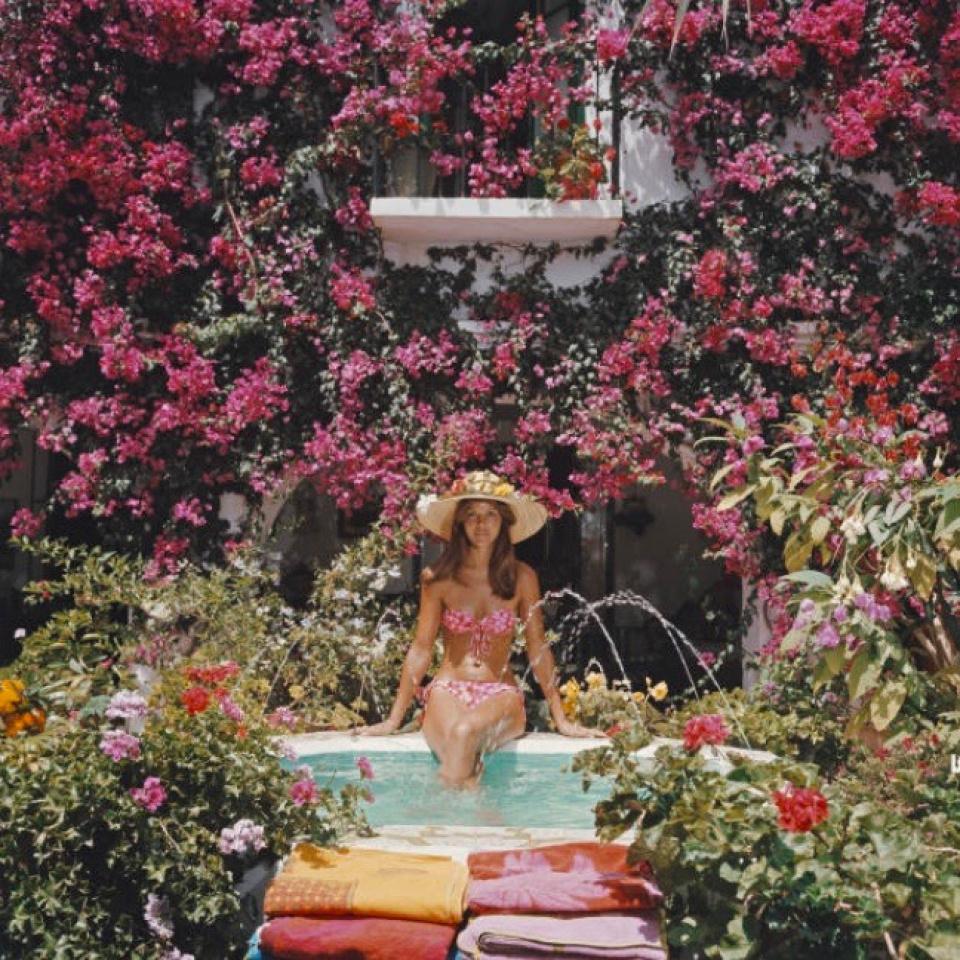 Slim Aarons. Valerie Cates in Marbella, Spain, 1976